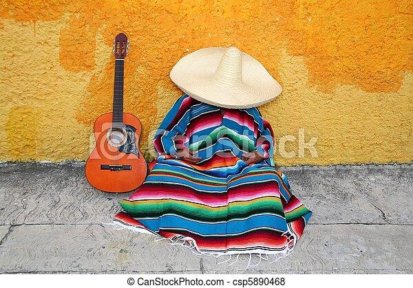 Mexican typical lazy man sombrero hat guitar serape - csp5890468