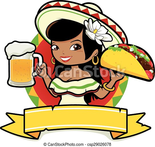 Mexican woman with beer and taco. Vector Illustration - csp29026078