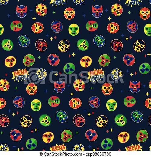 Mexican wrestling. Seamless Pattern. - csp38656780