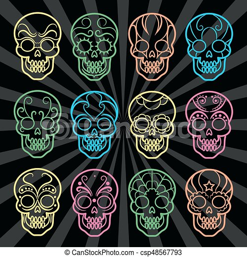 Coleccion de cráneos mexicanos brillantes - csp48567793