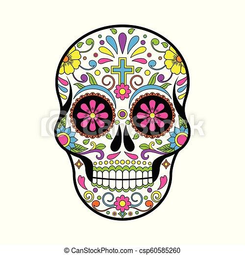 Cráneos de Azúcar Mexicanos, Día del Vector Muerto ilustración sobre fondo blanco - csp60585260