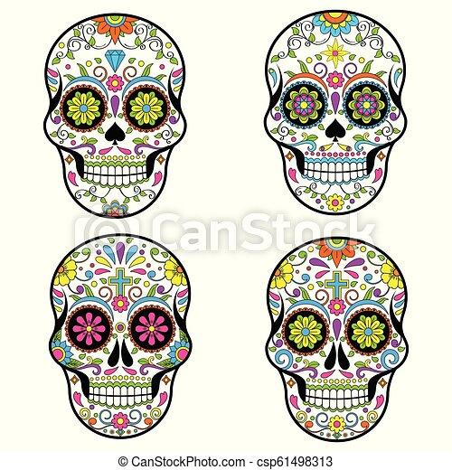 Cráneos de Azúcar Mexicanos, Día del Vector Muerto ilustración sobre fondo blanco - csp61498313
