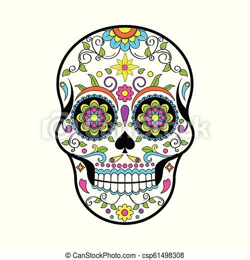 Cráneos de Azúcar Mexicanos, Día del Vector Muerto ilustración sobre fondo blanco - csp61498308