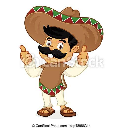 Dibujos animados mexicanos dando pulgares arriba - csp48986314