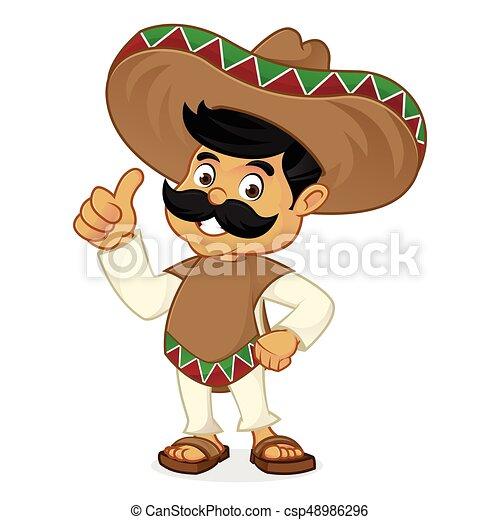 Dibujos animados mexicanos dando pulgares arriba - csp48986296