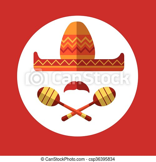 Sombrero bigote mexicano tradicional maraca sombrero - csp36395834