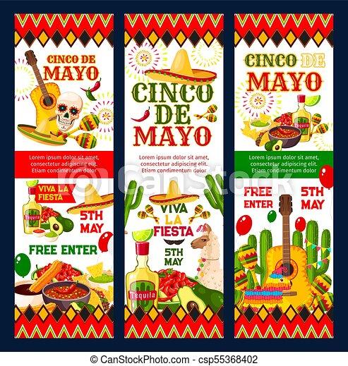 Tarjeta De Invitación Para Fiestas Del Cinco De Mayo Cinco