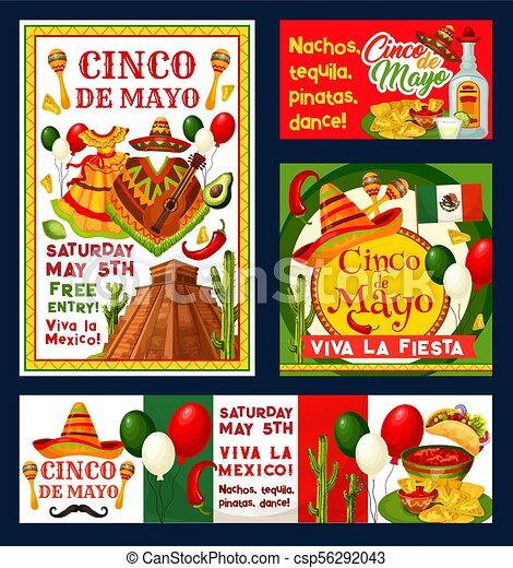 Cinco De Mayo Vectores Mexicanos Invitaciones De Fiesta