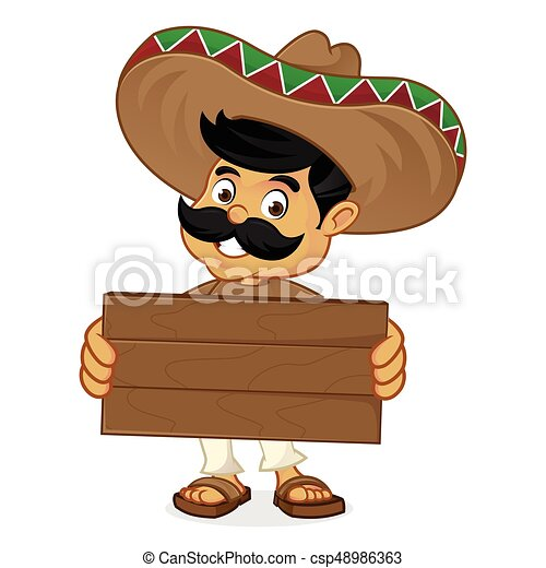 Dibujos animados mexicanos sosteniendo madera - csp48986363