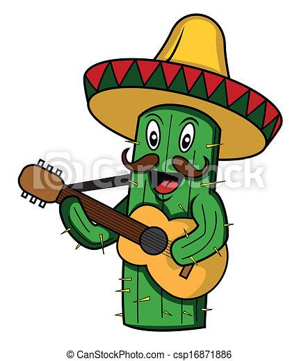 mexico cactus cartoon vector - csp16871886