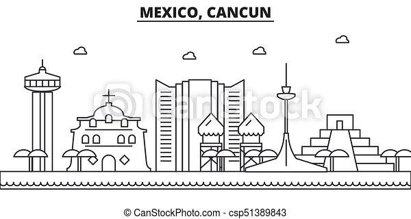 Mexico Cancun Architecture Line Skyline Illustration Linear Vector