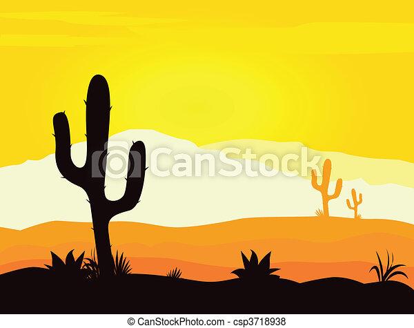 Mexico desert sunset with cactus - csp3718938