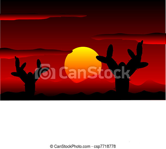 Mexico desert sunset with cactus plants - csp7718778