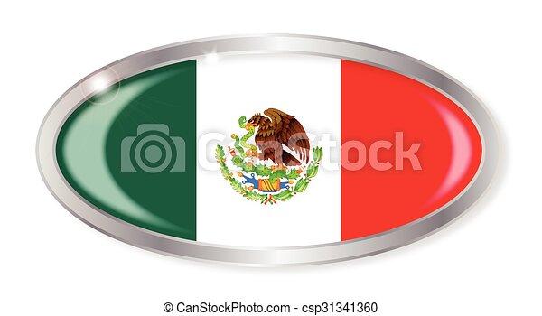 Mexico  Flag Oval Button - csp31341360