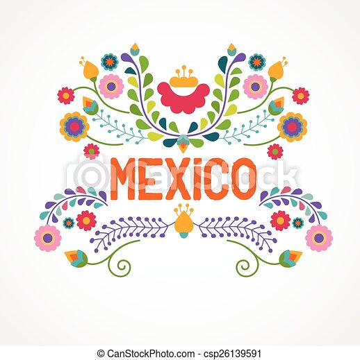 Mexico flowers, pattern and elements - csp26139591