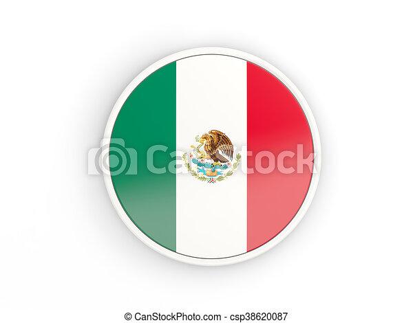 Mexico Icône Drapeau Cadre Rond Frame3d Mexico