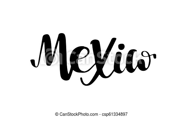 Mexico Lettering Text Phrase Background With Flag