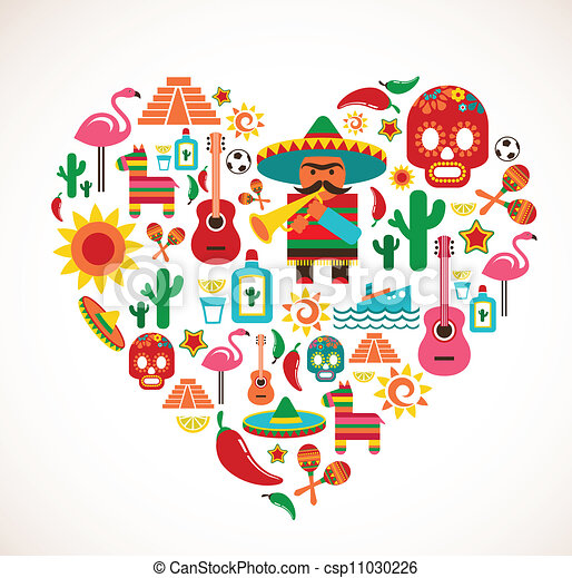 Mexico love - heart with set of vector icons - csp11030226