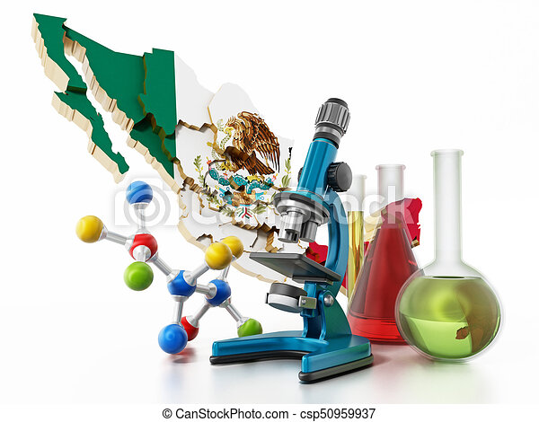 mexico map and laboratory tools narcotics concept 3d illustration