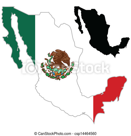 Mexico Map Flag On A White Background Vector Illustrator