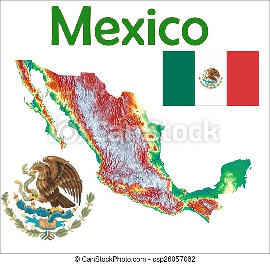 Mexico Map Flag Coat Mexico Map Aerial View