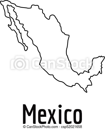 Mexico Map Thin Line Vector Simple Mexico Map Thin Line Simple