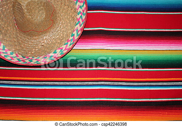 Mexico Mexican traditional cinco de mayo rug poncho fiesta background with stripes - csp42246398