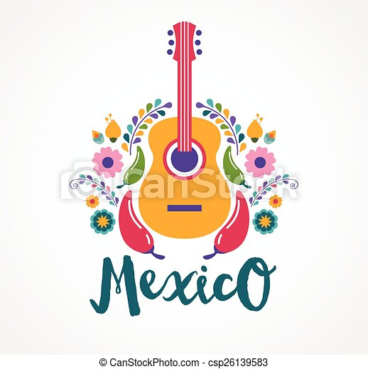 Mexico music and food elements - csp26139583