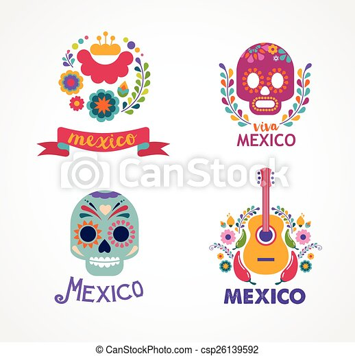 Mexico music, skull and food elements - csp26139592