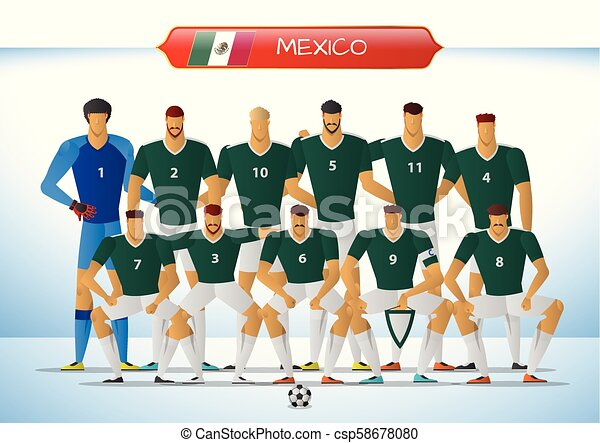 Mexico national football team for international tournament. vector  illustration. dcdbc7f07