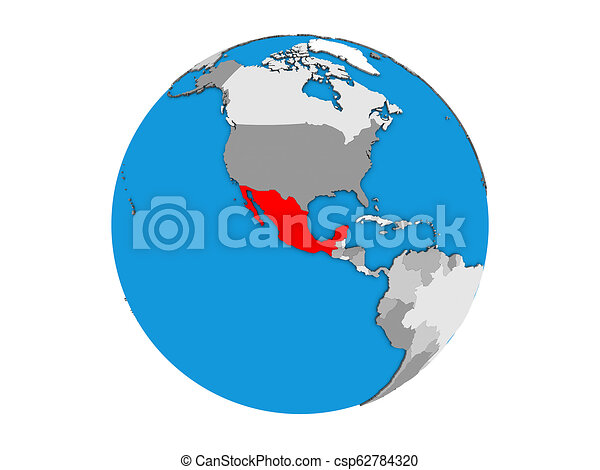Mexico on 3D globe isolated - csp62784320