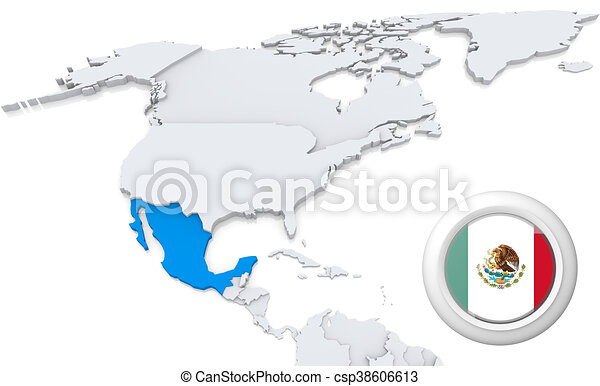 Mexico on a map of north america highlighted mexico on map of north mexico on a map of north america csp38606613 gumiabroncs Image collections