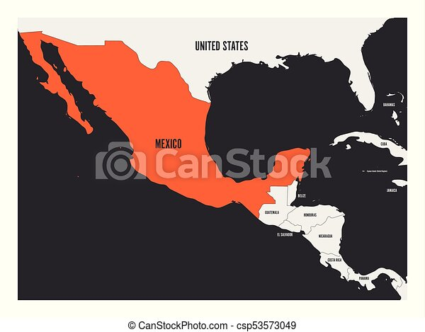 Mexico orange marked in political map of central america. simple ...