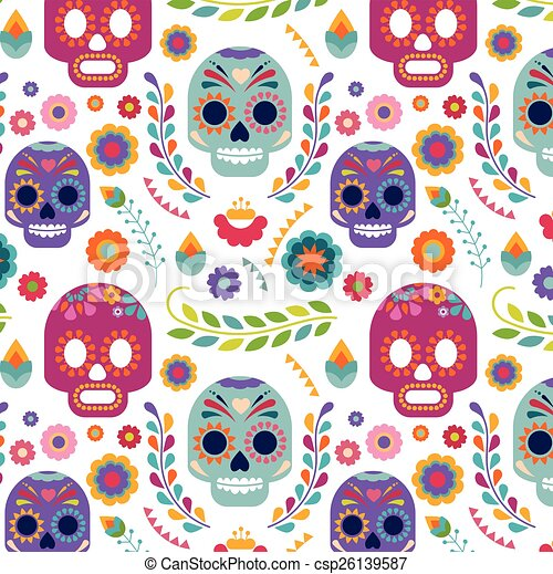 Mexico pattern with skull and flowers - csp26139587