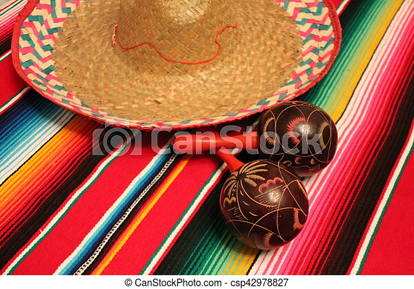 Mexico poncho sombrero maracas background fiesta cinco de mayo decoration bunting - csp42978827