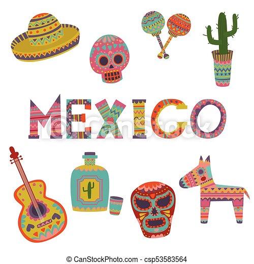 Mexico Set Symbols Of Mexican Culture Cartoon Vector Illustrations
