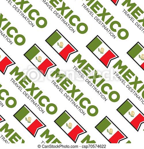 Mexico travel destination national flag seamless pattern - csp70574622