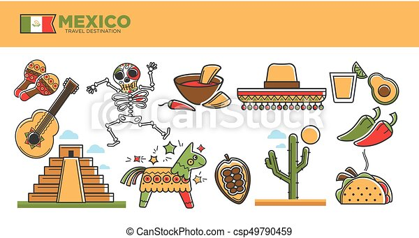 Mexico travel tourism famous landmarks and tourist attractions vector symbols set - csp49790459