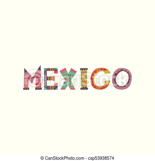 mexico word colorful template design for magazine brochure or booklet cartoon vector illustration