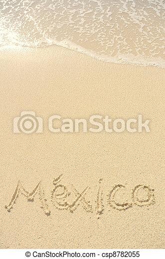 Mexico Written in Sand on Beach - csp8782055