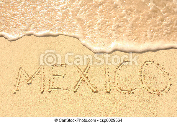 Mexico Written in Sand on Beach - csp6029564
