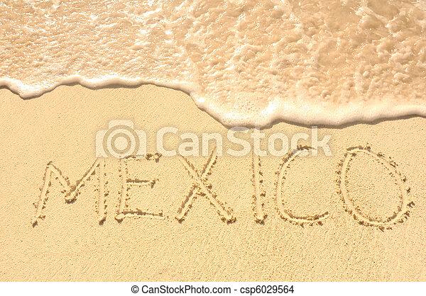 Mexico Written in Sand on Beach - csp6029564