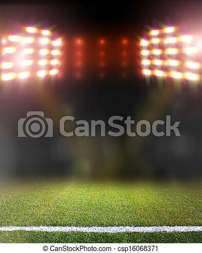 mező, fényes, futball, reflektorfény - csp16068371