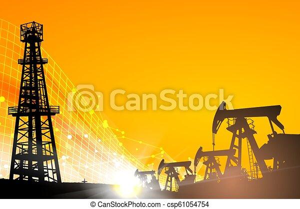 mező, felett, olaj, sunset. - csp61054754