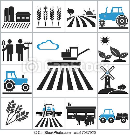 mezőgazdaság, ikonok - csp17037920