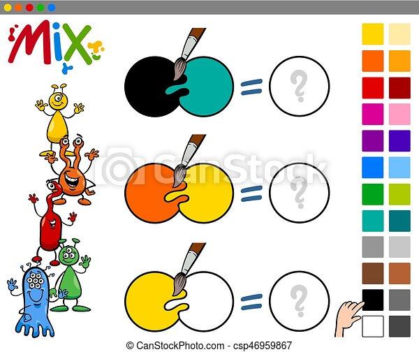 Mezcla, colores, juego, niños. Educativo, juego,... vector clip art ...