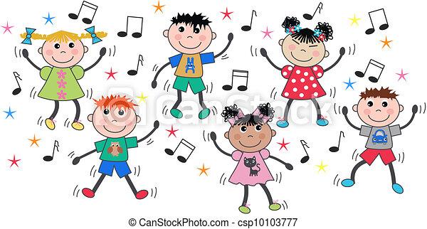 mezclado, bailando, niños, étnico, disco - csp10103777