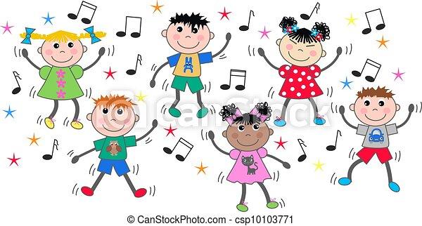 La mezcla de niños étnicos bailando disco - csp10103771
