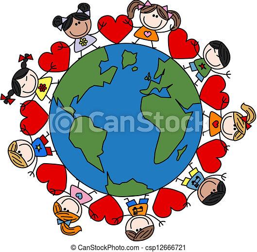 mezclado, niños, amor, étnico, feliz - csp12666721
