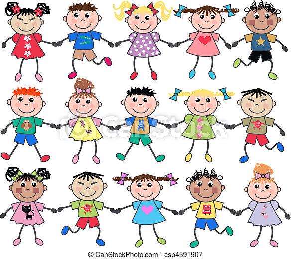 mezclado, unido, niños - csp4591907